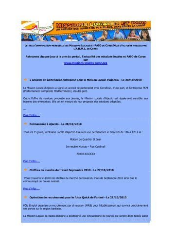 Lettre ARML de Corse- 10/2010 - ANDML