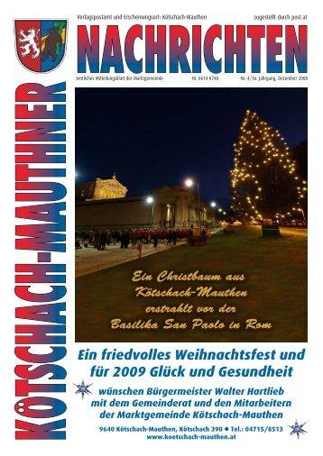 Ein friedvolles Weihnachtsfest und für 2009 Glück und Gesundheit