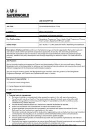 JOB DESCRIPTION Job Title: Finance/Administration ... - Saferworld