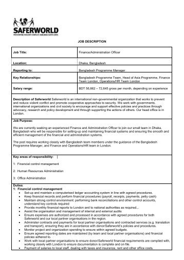 job description job title financeadministration saferworld - Job Description Of Business Administration