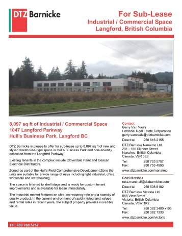 8097 sq ft of Industrial/Commercial Space - DTZ