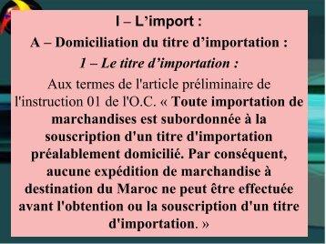 Commerce Exterieur : partie Import