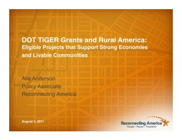 DOT TIGER Grants and Rural America: Eligible Projects that Support ...