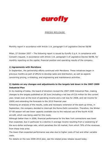 27 October 2007 2 - Press release - Meridiana