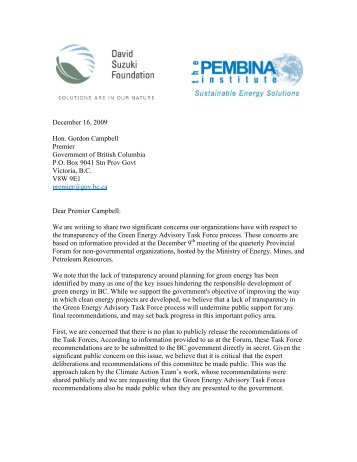 Green Energy Task Force transparency letter.pdf - David Suzuki ...