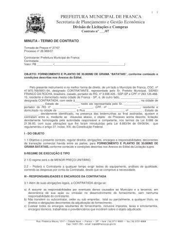 TP 27-07 - grama - minuta contrato - Prefeitura de Franca