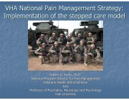 VHA National Pain Management Strategy - Society of Behavioral ...