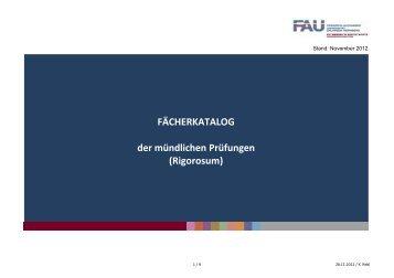 FÄCHERKATALOG der mündlichen Prüfungen (Rigorosum)