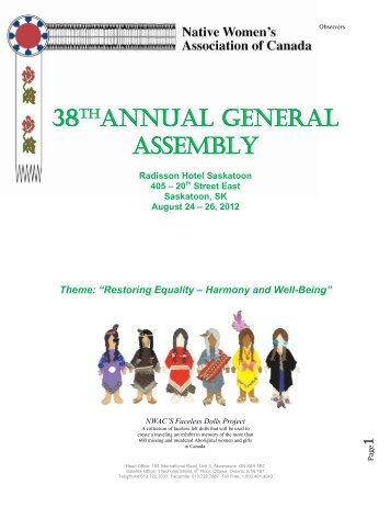 38thANNUAL GENERAL ASSEMBLY - Native Women's Association ...