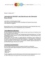 Jahresbericht 2010/2011 des Elternforums der Oberstufe Elsau-Schlatt