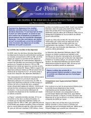 Les recettes et les dépenses du gouvernement fédéral - IEDM
