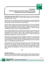 PRESS RELEASE BNP Paribas Cardif Life Insurance Raises ...