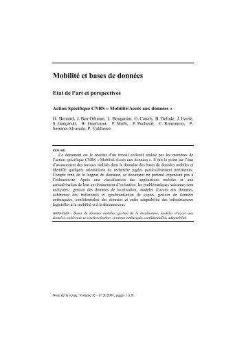 Mobilité et bases de données - smis inria