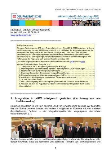 NEWSLETTER ZUR EINBÜRGERUNG Nr. 06/2012 vom 28.06.2012