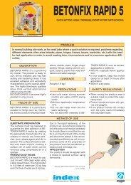 BETONFIX RAPID 5 ¥ home2 ¥ gb (Page 1) - Index S.p.A.