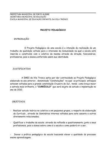 PROJETO PEDAGÓGICO INTRODUÇÃO O Projeto Pedagógico de ...