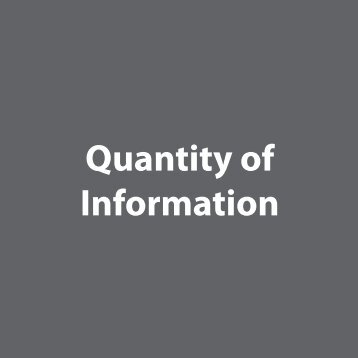 Quantity of Information - The Sustainability Consortium
