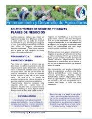 PLANES DE NEGOCIOS - Cuenta del Milenio - Honduras