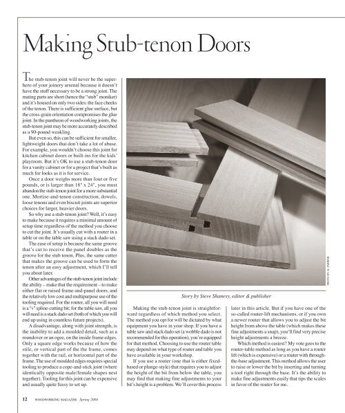 Making Stub-tenon Doors - Popular Woodworking Magazine