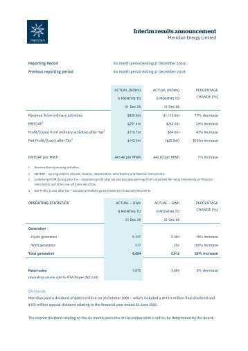 Meridian Energy Ltd - Half year results for announcement to the ...