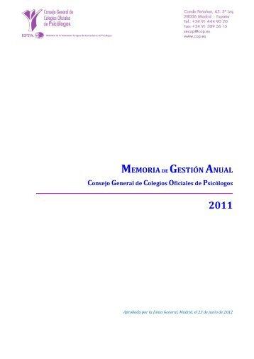 MEMORIADE GESTIÓN ANUAL - Consejo General de Colegios ...