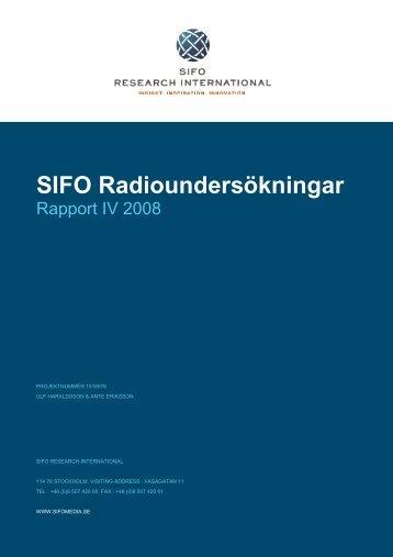 Ladda hem TNS SIFO radioundersökningar Rapport IV, 2008