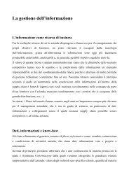 Gestione dell'Informazione e Sistemi Informativi Aziendali