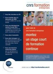 montez un stage court de formation continue - CNRS