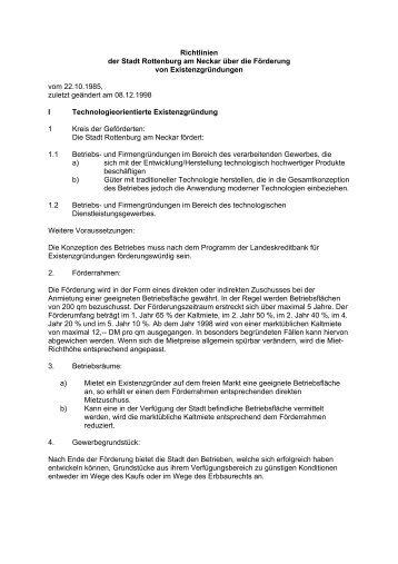 Richtlinien der Stadt Rottenburg am Neckar über die Förderung von ...