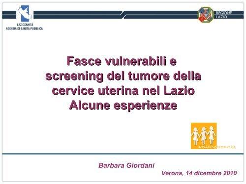 Diapositiva 1 - Osservatorio Nazionale Screening