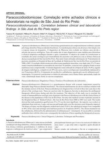 Paracoccidioidomicose: Correlação entre achados clínicos e ...