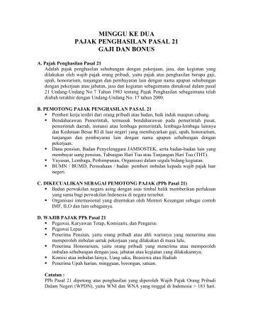 minggu ke dua pajak penghasilan pasal 21 gaji dan bonus - iLab