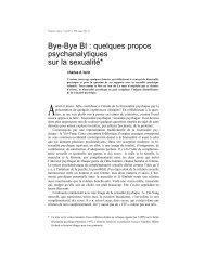 Bye-Bye BI : quelques propos psychanalytiques sur la sexualité*