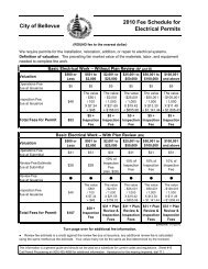 City of Bellevue 2010 Fee Schedule for Electrical Permits