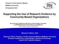 Supporting the Use of Research Evidence by Community-Based ...