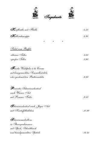 komplette Speisekarte als PDF - Gasthaus Hirsch Altingen