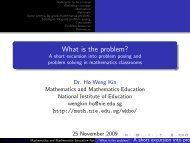 What is the problem? A short excursion into problem posing and ...