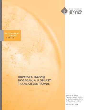 hrvatska: razvoj dogadanja u oblasti tranzicijske pravde