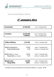 Avis Financier Résultats du 1er semestre 2011 ... - Dassault Aviation