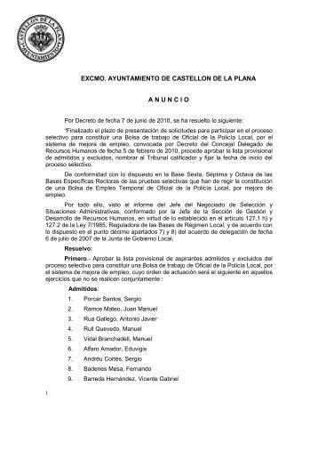Lista provisional de aspirantes admitidos y excluidos, designación ...