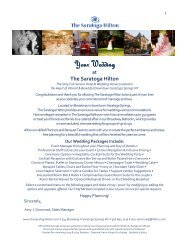 Wedding Packages - The Saratoga Hilton