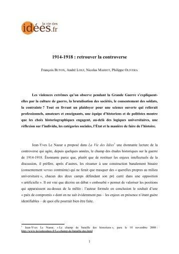 1914-1918 : retrouver la controverse - La Vie des idées