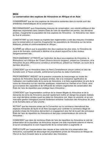 M026 La conservation des espèces de rhinocéros en ... - IUCN Portals
