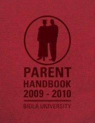 2009-2010 Parent handbook | 1 - Biola University