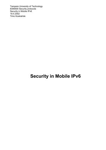 Security in Mobile IPv6