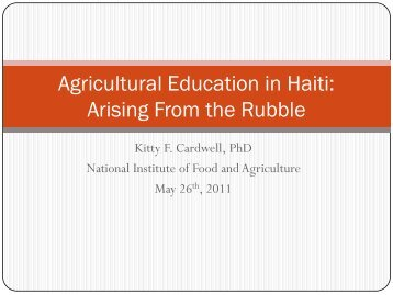 Agricultural Education in Haiti Arising from the rubble - National ...