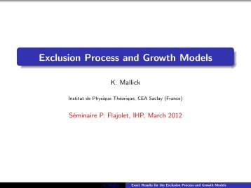 Exclusion Process and Growth Models