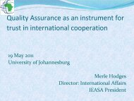 Quality Assurance as an instrument for trust in international ...