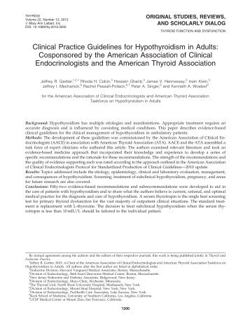 Clinical Practice Guidelines for Hypothyroidism in Adults ...