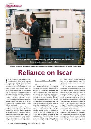 Reliance on iscar - Iscar Ltd.